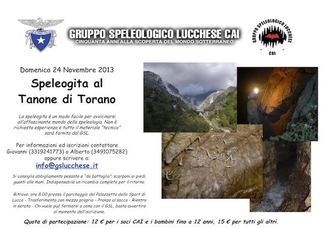 Volantino speleogita Tanone di Torano 2013